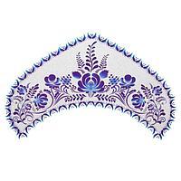 Термонаклейка Гжель на синем, набор 10 штук