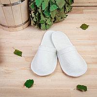 Тапочки для бани, белые, без вышивки