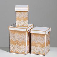 Набор коробок 3 в 1 'Кружево', 10 x 18, 14 x 23, 17 x 25 см