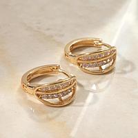 Серьги-кольца 'Циркония' дуга, d1,5, цвет белый в золоте