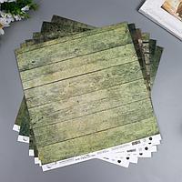 Набор бумаги для скрапбукинга 'Вокруг меня Хаки' 6 листов, 30.5x30.5 см, 190 гр/м2