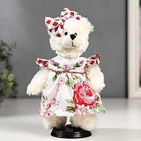 Кукла интерьерная 'Мишка с бантиком и в цветочном платье' 25 см