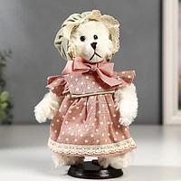 Кукла интерьерная 'Мишка в чепчике и в розовом платье в горошек' 25 см