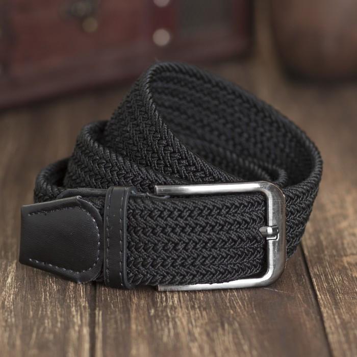 Ремень мужской, резинка плетёнка, ширина 4 см, пряжка металл, цвет чёрный - фото 1