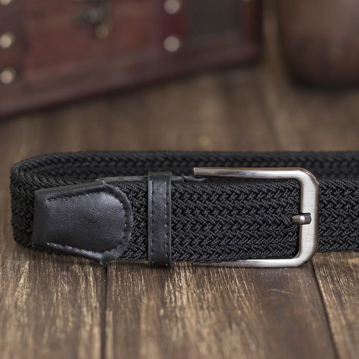 Ремень мужской, резинка плетёнка, ширина 4 см, пряжка металл, цвет чёрный - фото 2