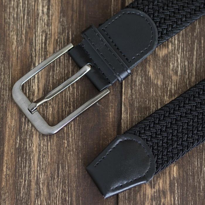 Ремень мужской, резинка плетёнка, ширина 4 см, пряжка металл, цвет чёрный - фото 3