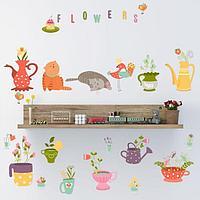 Наклейка пластик интерьерная цветная 'Кошки и цветы в посуде' 25х63 см набор 2 листа
