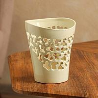 Кашпо 'Орхидейница', резная, бежевая, керамика