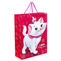 Пакет ламинированный вертикальный 'С Днем рождения, чудесная девочка!', Коты аристократы, 31 х 40 х 11 см