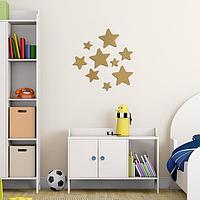 Декор настенный 'Звёзды', 9 элементов, 5, 8, 12 см, золото