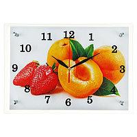 Часы настенные, серия Кухня, 'Абрикосы и клубника', 25х35 см, микс