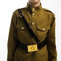 Ремень с металлической пряжкой, военный, цвет коричневый