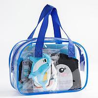Детский набор для купания 'Пингвин и друзья' в сумке мочалка, EVA - пазлы, игрушки