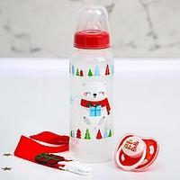 Подарочный набор детский 'Новогодние малыши' Бутылочка 250 мл, пустышка и держатель на ленте 4376