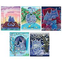 Тетрадь 48 листов в клетку 'Нежные котики', обложка мелованный картон, фольга, ламинация Soft Touch, МИКС