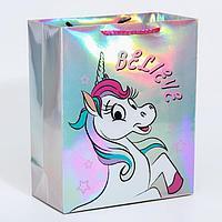Пакет голография горизонтальный 'Unicorn dreams', Минни Маус Единорог, 25 х 21 х 10 см
