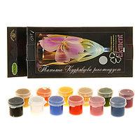 Краска по стеклу и керамике, ЭМАЛЬ, набор, 12 цветов х 4 мл, Element 1, морозостойкая