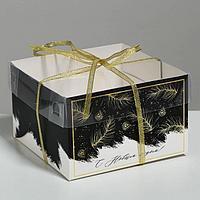 Коробка для капкейка 'С Новым годом', 16 x 16 x 10 см (комплект из 10 шт.)