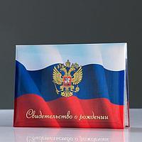 Папка для свидетельства о рождении 'Триколор' герб РФ, А5, размер файла 24 х 18.5 см