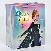 Пакет голография горизонтальный 'Queen of Arendelle', Холодное сердце, 25 х 21 х 10 см