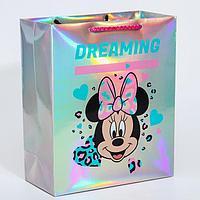Пакет голография горизонтальный 'Dreaming', Минни Маус, 25 х 21 х 10 см