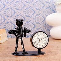 Часы настольные 'Гарольд', 24х10 см, циферблат d- 5.5см,1 ААА, микс