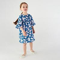 Платье для девочки 'Весна', цвет синий/цветы, рост 116 см