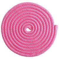 Скакалка гимнастическая утяжелённая, 2,5 м, цвет неон розовый/серебро люрекс