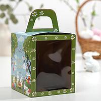 Пасхальная коробочка с окном 'Пасхальные кролики', 15 х 15 х 18 см (комплект из 5 шт.)