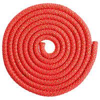Скакалка гимнастическая утяжелённая, 3 м, 180 г, цвет красный/золото/люрекс