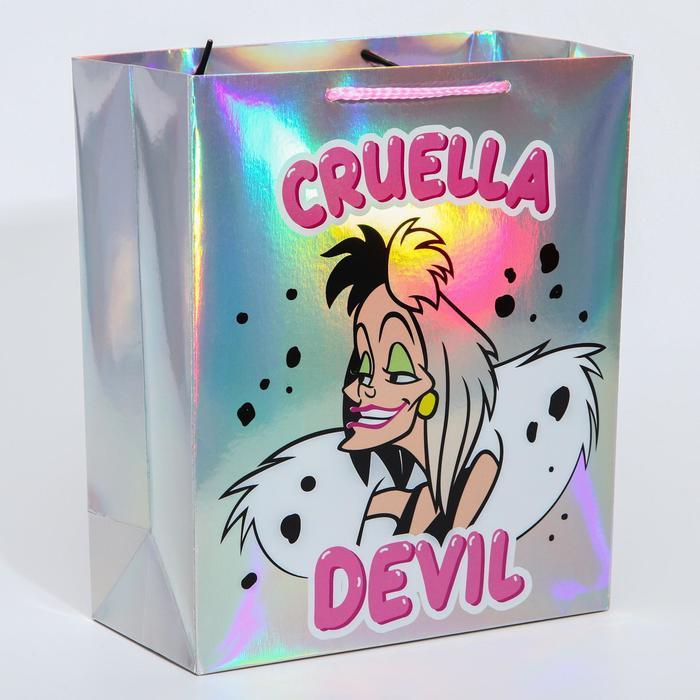 Пакет голография горизонтальный 'Cruella Devil', Disney, 25 х 21 х 10 см - фото 1