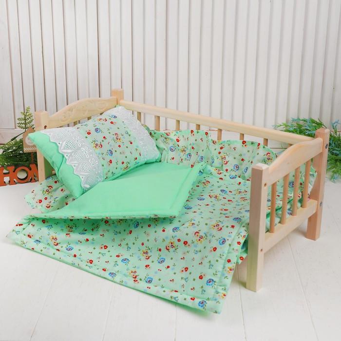 Кукольное постельное 'Цветочки на зелёном', простынь, одеяло 46х36 см, подушка 27х17 см - фото 1