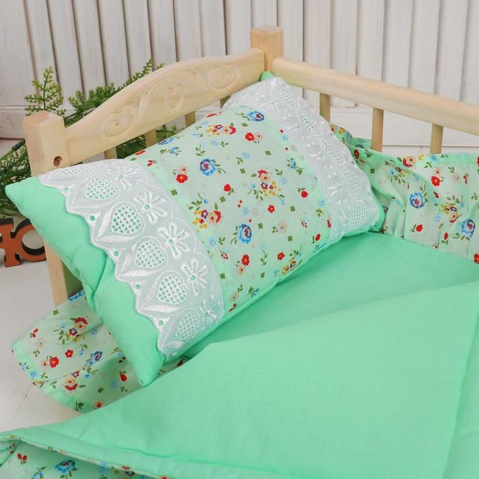 Кукольное постельное 'Цветочки на зелёном', простынь, одеяло 46х36 см, подушка 27х17 см - фото 2