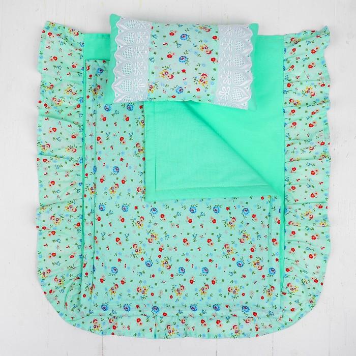 Кукольное постельное 'Цветочки на зелёном', простынь, одеяло 46х36 см, подушка 27х17 см - фото 3
