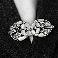 Зажим для кардигана 'Роскошь', цвет бело-серый в чернёном серебре