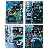 Тетрадь 96 листов в клетку на гребне JAZZ CAFE, обложка мелованный картон, глянцевая ламинация, МИКС