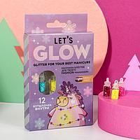 Набор крупных блёсток для декора ногтей Let's glow!, 12 цветов