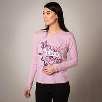 Лонгслив женский, цвет светло-розовый, размер 56