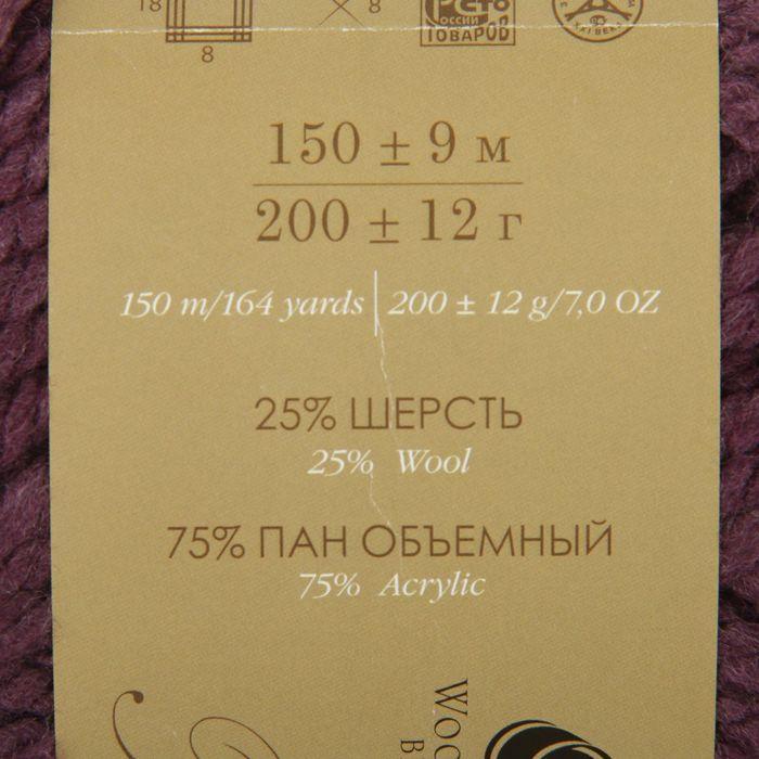 Пряжа 'Осенняя' 25 шерсть, 75 ПАН 150м/200гр (191-Ежевика) - фото 3