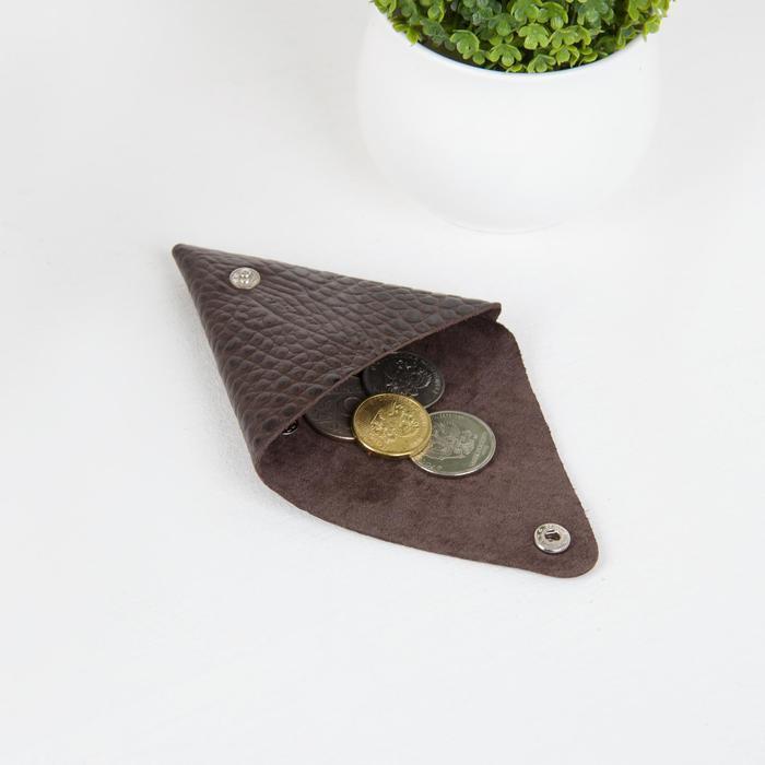 Футляр для монет/наушников на кнопке, цвет коричневый - фото 3
