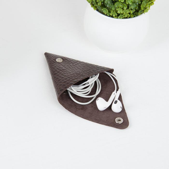 Футляр для монет/наушников на кнопке, цвет коричневый - фото 4