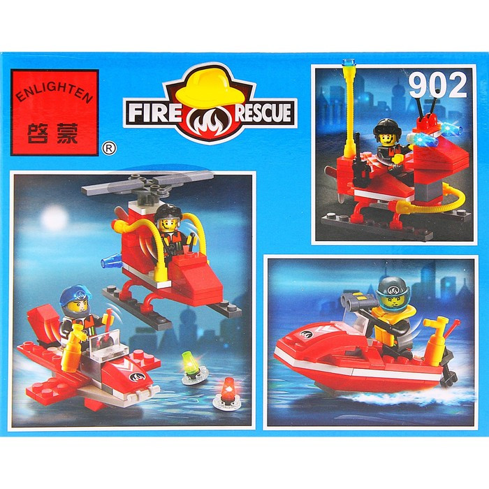 Конструктор 'Пожарные спасатели вертолёт + гидроцикл', 111 деталей - фото 2