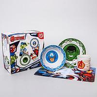Набор посуды 'Марвел', 4 предмета тарелка 16,5 см, миска 14 см, кружка 200 мл, коврик в подарочной упаковке,