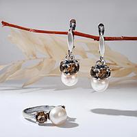 Гарнитур посеребрение 2 предмета серьги, кольцо, ночь 'Жемчуг' с ювелирным стеклом 17,5 р-р