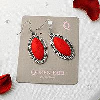 Серьги 'Натурель' эллипс, цвет красный в чернёном серебре