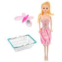 Корзинка для покупок 'Мини-супермаркет' с куклой, МИКС