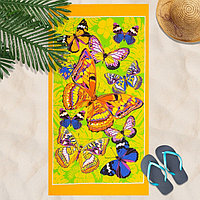 Вафельное полотенце Бабочки 80х150 см, желтый, хлопок 100 , 160г/м