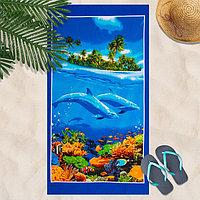 Вафельное полотенце пляжное 'Дельфин' 80х150 см, разноцветный, 160г/м2,хлопок 100