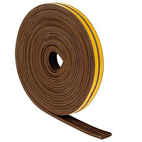 Уплотнитель для окон, профиль E, на клейкой основе, коричневый, в упаковке 10 м