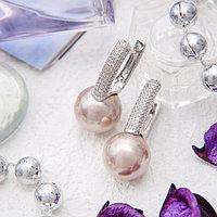 Серьги родирование 'Майорка' шар 12, роса, цвет розовый